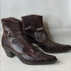 Franco Sarto Western Side Zip Leather Booties 8 M